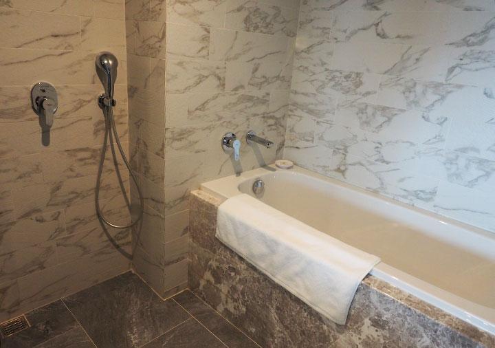 高雄 ハワードプラザホテル高雄 客室のシャワーとバスタブ