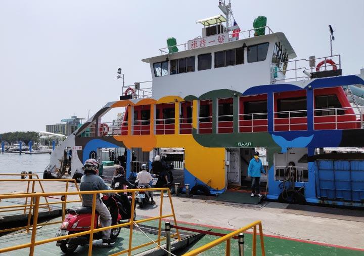 高雄の旗津島  旗津輪渡站(フェリー乗り場)の船