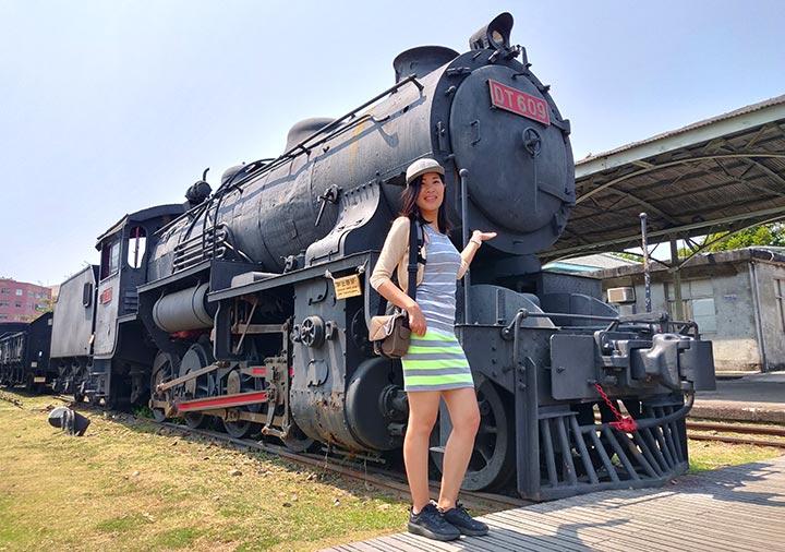 高雄の駁二芸術特区 哈瑪星鉄道文化園区の蒸気機関車