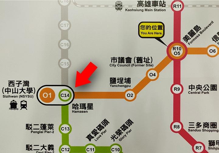 高雄のMRTマップ