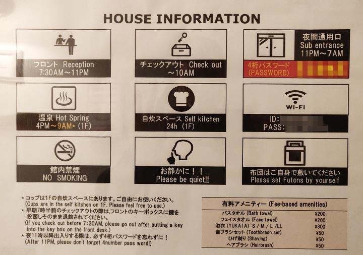 ゲストハウスサンライン別府 客室の説明書き