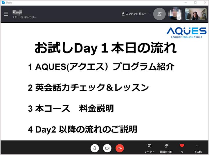 AQUES(アクエス)英会話 体験レッスンDAY1の流れ