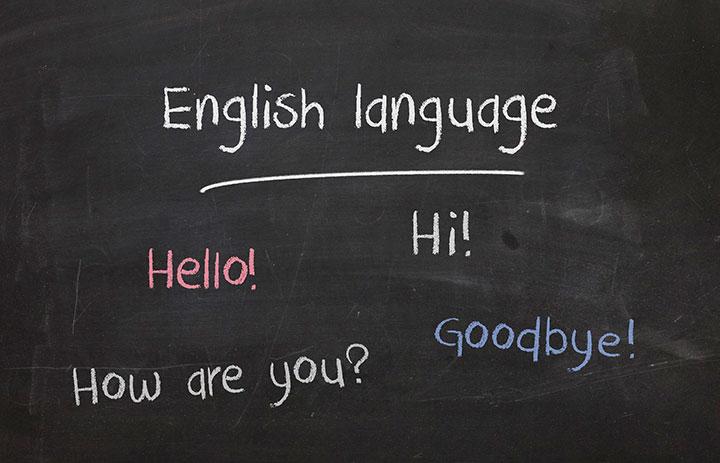 黒板に英語を書いた画像