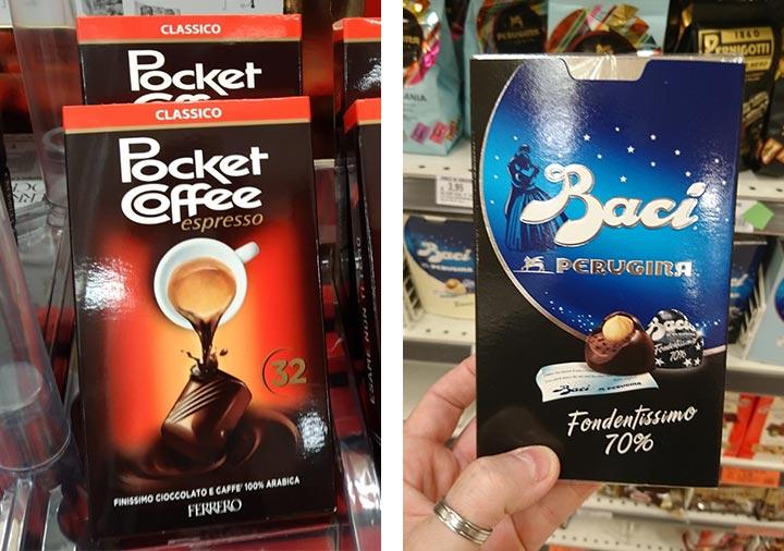 イタリアのチョコレート フェレロ ポケットコーヒー とペルジーナ バッチ
