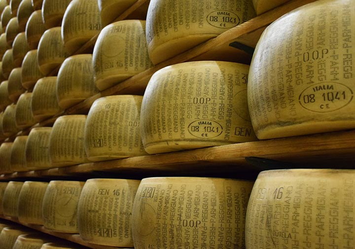 イタリアのチーズ パルミジャーノDOPが並んでいる画像